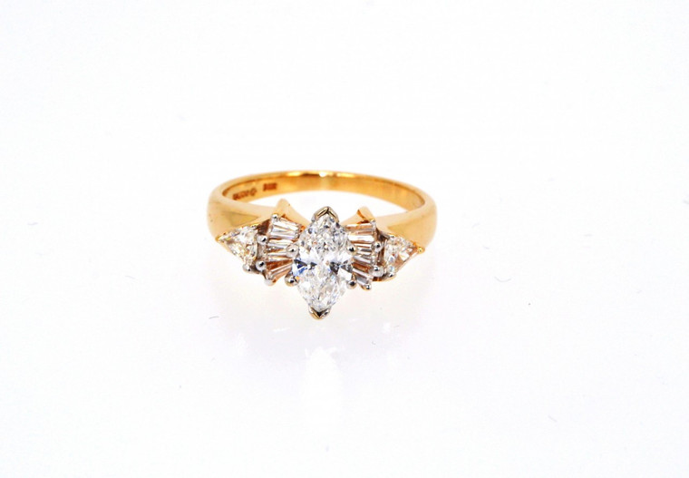 14K Yellow Gold 1.30 ctw Marquise Diamond Engagement Ring  11000490  By Shin Brothers*