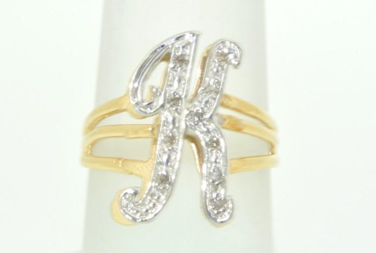 11002168 14K White Gold Diamond Initial K Name Ring
