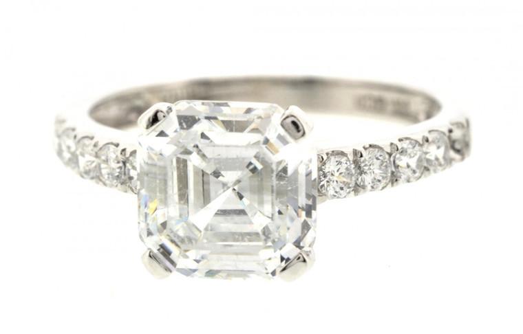 14K White gold CZ Engagment ring   12001769