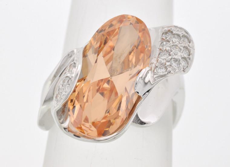 12001141 14K White Gold Diamond/Yellow CZ Ring