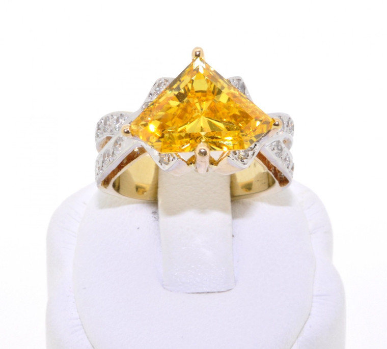 12000211 14K Yellow Gold Fancy CZ/Diamond Ring