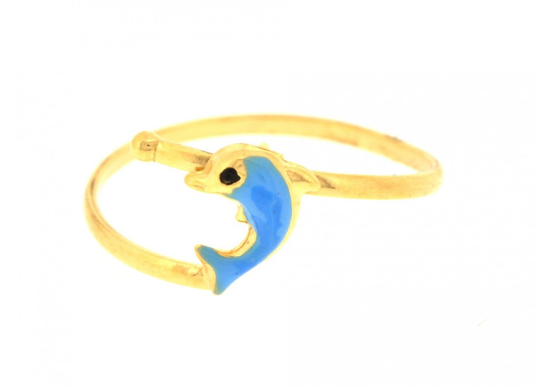 12002152 14K Yellow Gold Adjustable Dolphin Baby Ring