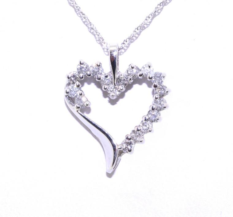 10K White Gold Diamond Heart Pendant 59000081