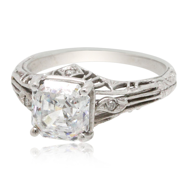 14K White Gold Center Cubic Zirconia Ring By Shin Brothers*