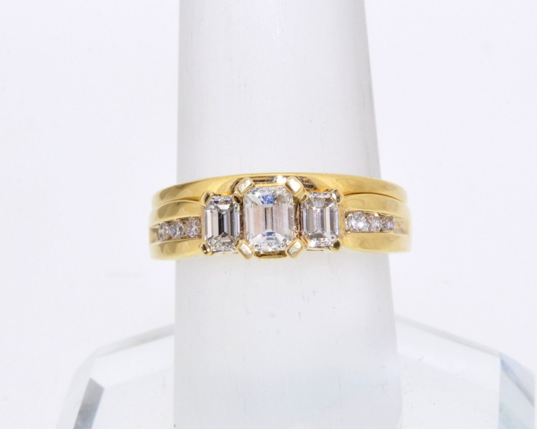14K Yellow Gold 1.0 ctw  Diamond Engagement Ring with Custom Wedding Band   11003134   By Shin Brothers*