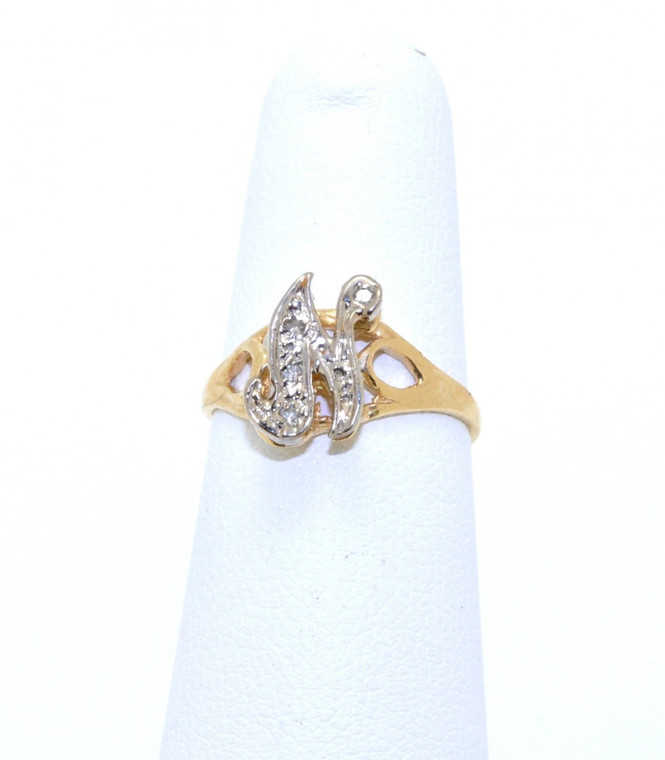 "11003221 14K Yellow Gold ""N"" Diamond Initial Ring"