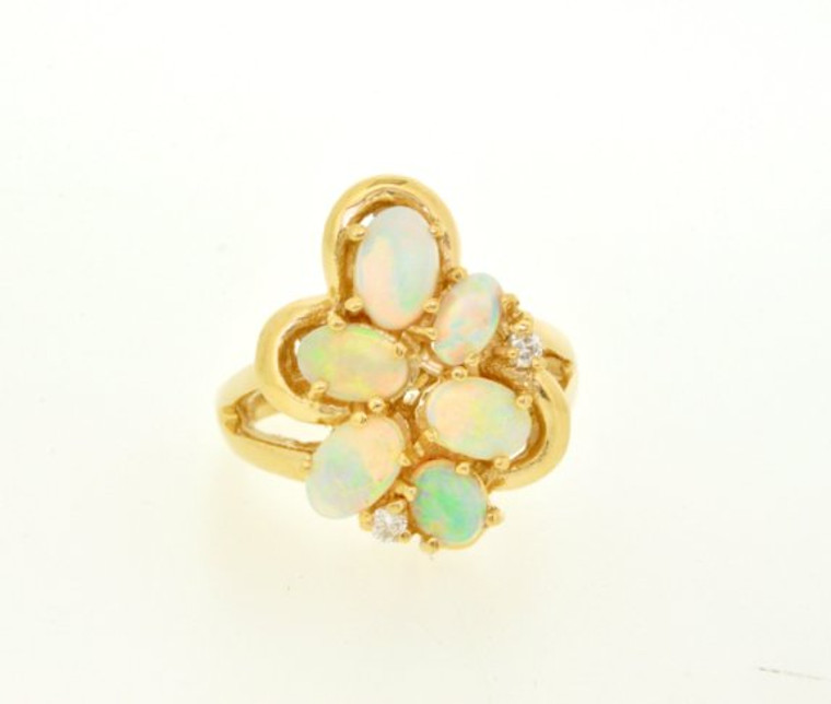 12001974 14K Yellow Gold Opal and Diamond Ring