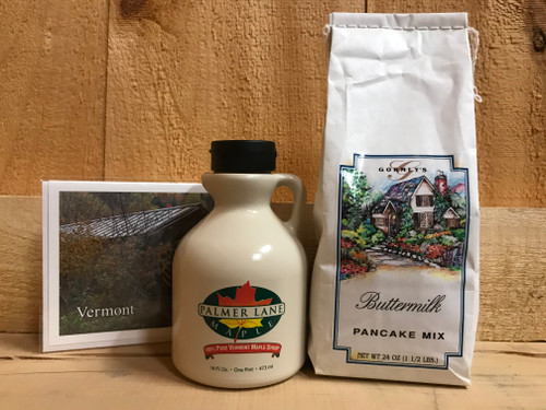 Our basic breakfast gift set includes a delicious buttermilk pancake and waffle mix, a pint of dark and robust pure Vermont maple syrup and a hand-written Vermont card.