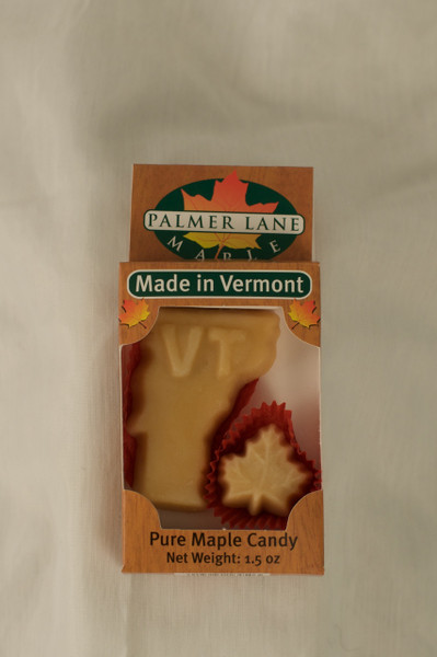 Maple Sugar Candy - Vermont Shape with One Small Leaf - 1.5 oz Pure Maple Candy