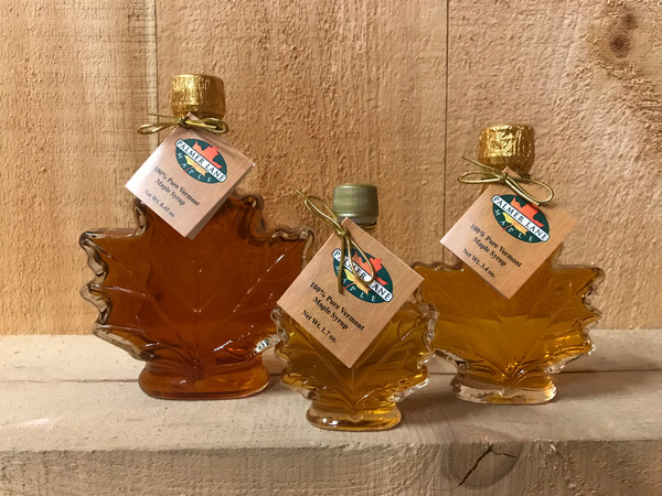 Distinctive maple leaf bottles show off the beauty of pure VT maple syrup.  Available in three sizes: 8.45 oz, 3.4 oz and 1.7 oz.