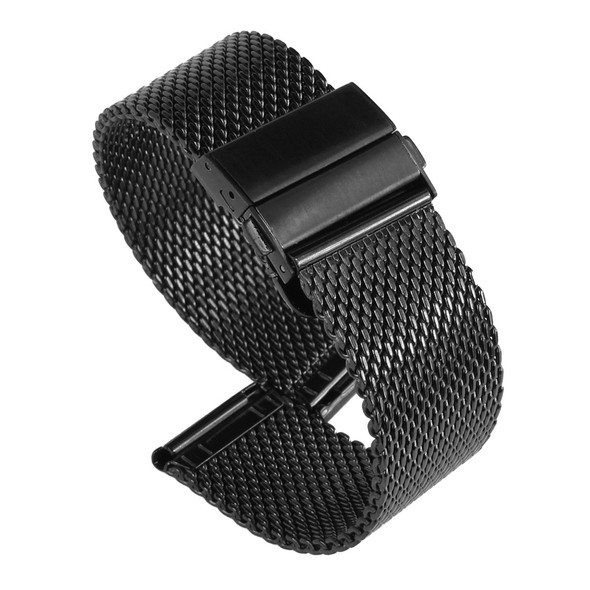 20MM STAINLESS STEEL BLACK MESH WATCH STRAP