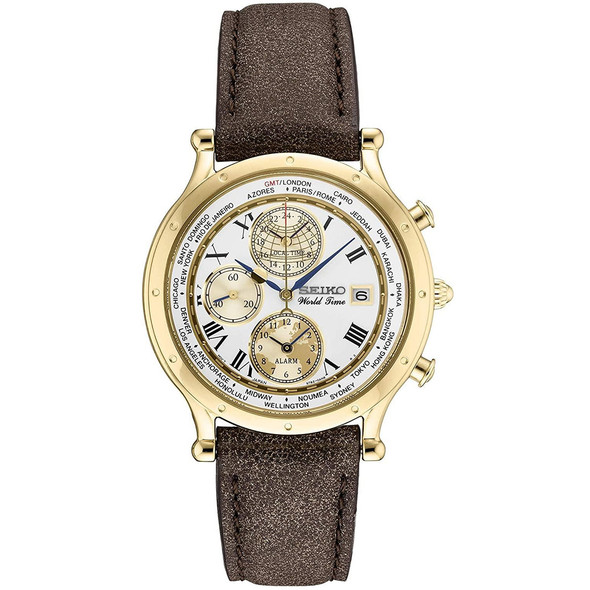 Seiko Age Of Discovery World Time SPL060P1 SPL060 SPL060P Leather Watch