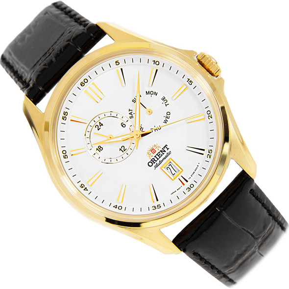 Orient Gold Case Analog Automatic White Dial Mens Dress Watch ET0R004W
