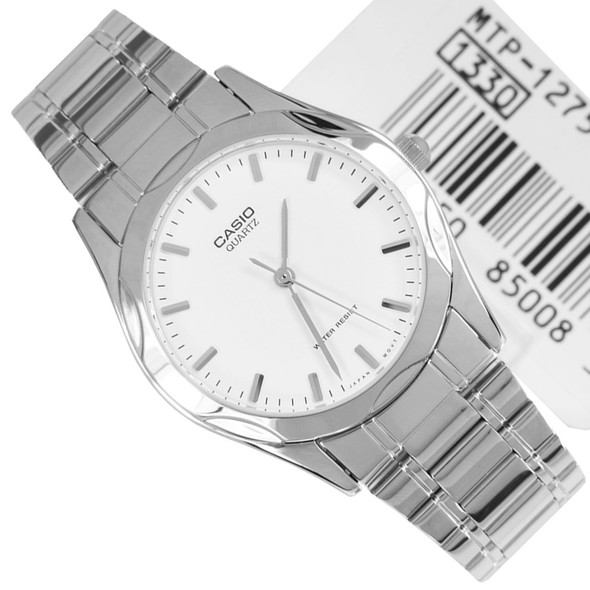 Casio Stainless White Dial Mens Casual Watch MTP-1275D-7A MTP1275D