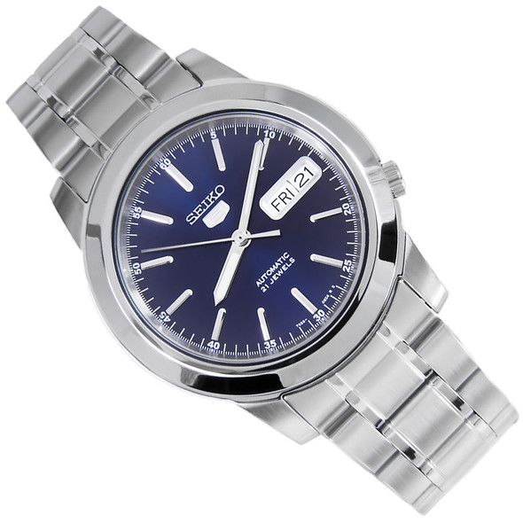 Seiko 5 Blue Dial Round WR30m Stainless Mens Automatic Watch SNKE51K1