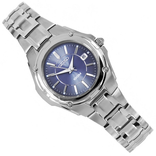 Seiko Blue Dial Quartz WR100m Womens Stainless Casual Watch SXDB45P1