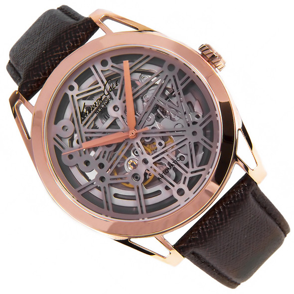 Kenneth Cole Gold Skeleton Brown Leather Analog Rose Mens Watch KC8082