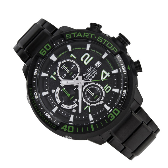 Alba SignA Chrono Mens Stopwatch Black Green Watch AM3101X1 AM3101X