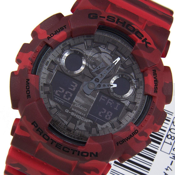 Casio Red G-Shock Camouflage Watch GA-100CM-4A GA100CM