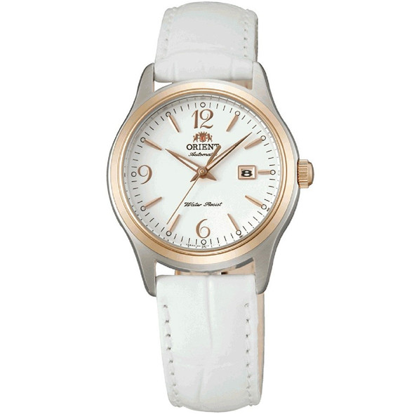 Orient Ladies Automatic White Leather Fashion Watch FNR1Q003W