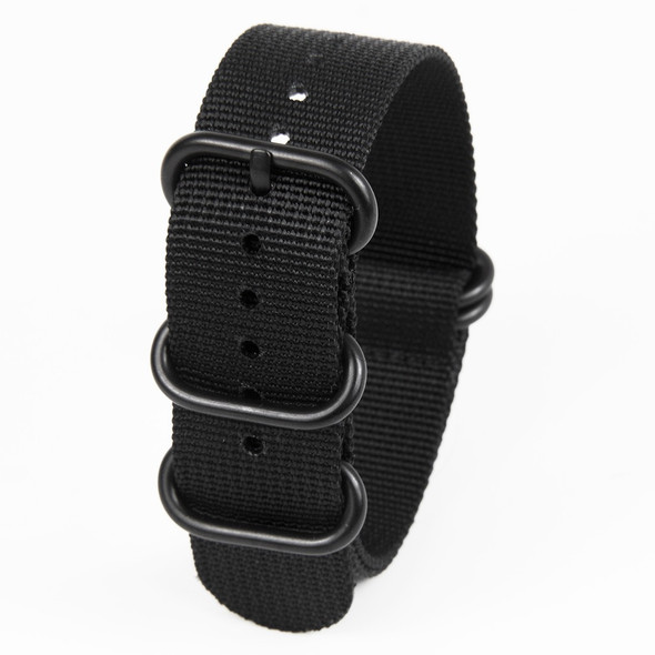 22MM BLACK NYLON ZULU STRAP