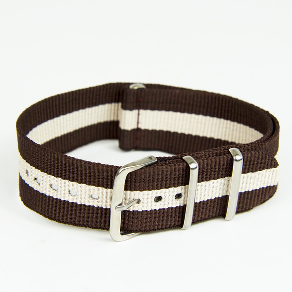 22mm Brown-Beige Nylon Strap