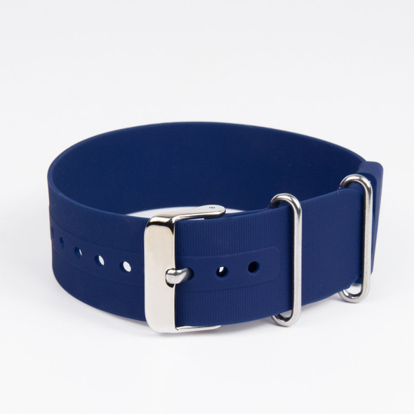 22mm Plain Blue Rubber Strap