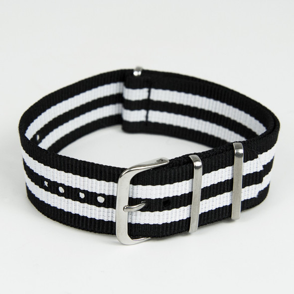 22mm Black-White Striped Nylon Strap