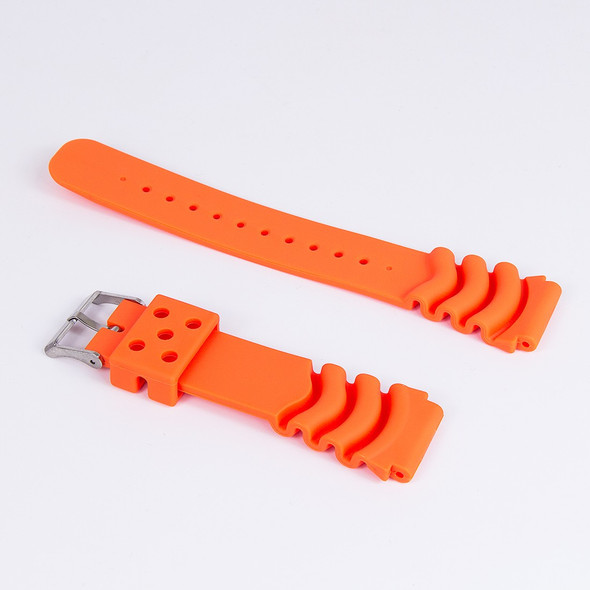 22mm Orange Polyurethane Rubber Wave Strap