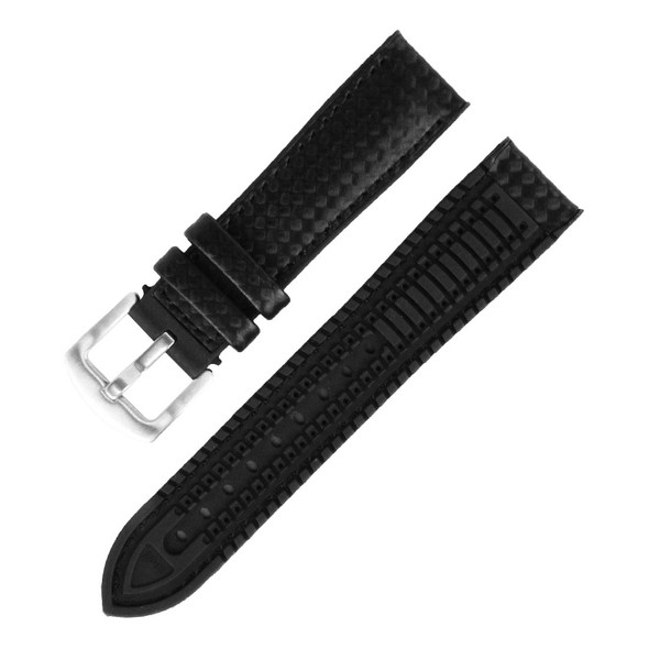 22MM BLACK LEATHER RUBBER WATCH STRAP 22A8056-01