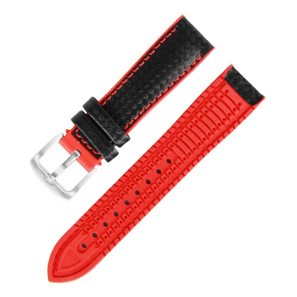 18MM BLACK LEATHER RED RUBBER WATCH STRAP 18A8056-04