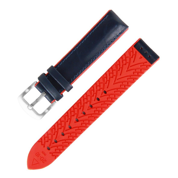 20MM BLUE LEATHER RED RUBBER WATCH STRAP 20A8093-04
