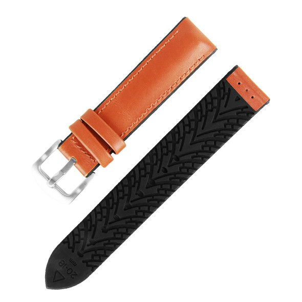20MM LIGHT BROWN LEATHER BLACK RUBBER WATCH STRAP 20A8093-01