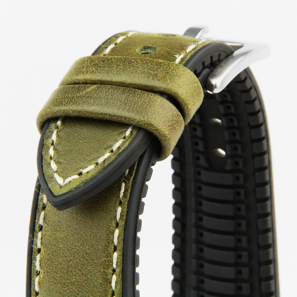 20MM MOSS GREEN LEATHER HYBRID BLACK RUBBER WATCH STRAP 20A8013-05 (ITALIAN LEATHER)