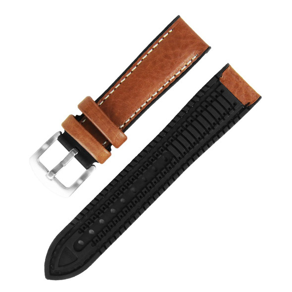 22MM BROWN LEATHER HYBRID BLACK RUBBER WATCH STRAP 22A8013-08 (ITALIAN LEATHER)