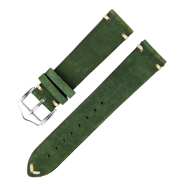 20MM DARK GREEN SUEDE LEATHER WATCH STRAP