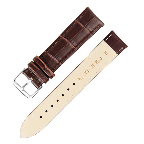 22MM BROWN BAMBOO GENUINE LEATHER WATCH STRAP