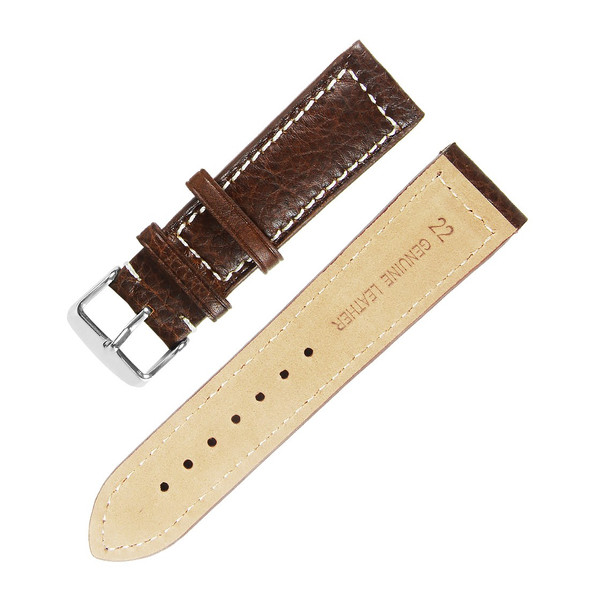 22MM GENUINE LEATHER BROWN W/ WHITE WATCH STRAP