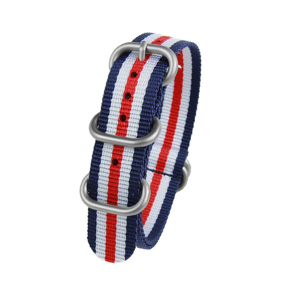 18MM BLUE WHITE RED NYLON ZULU STRAP