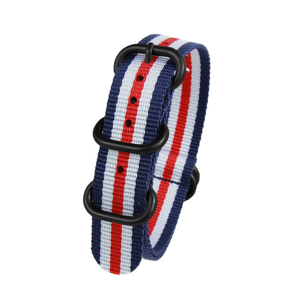 20MM RED BLUE WHITE NYLON ZULU STRAP