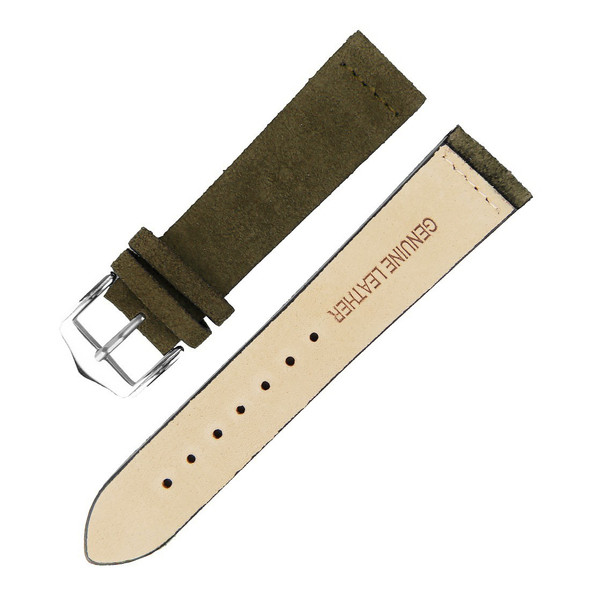 22MM SEAWEED GREEN SUEDE LEATHER WATCH STRAP