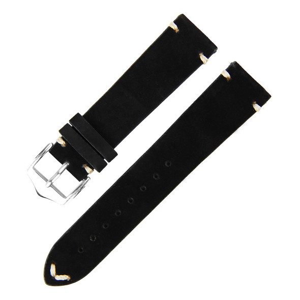 18MM BLACK SUEDE LEATHER WATCH STRAP