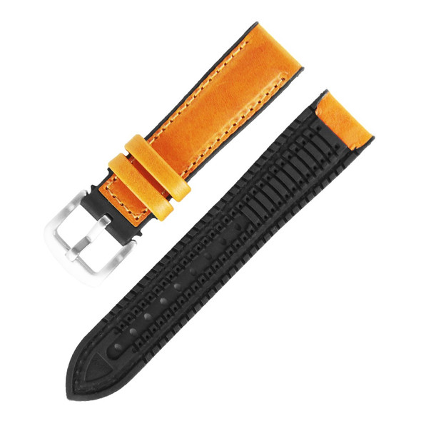 20MM MUSTARD LEATHER BLACK RUBBER WATCH STRAP