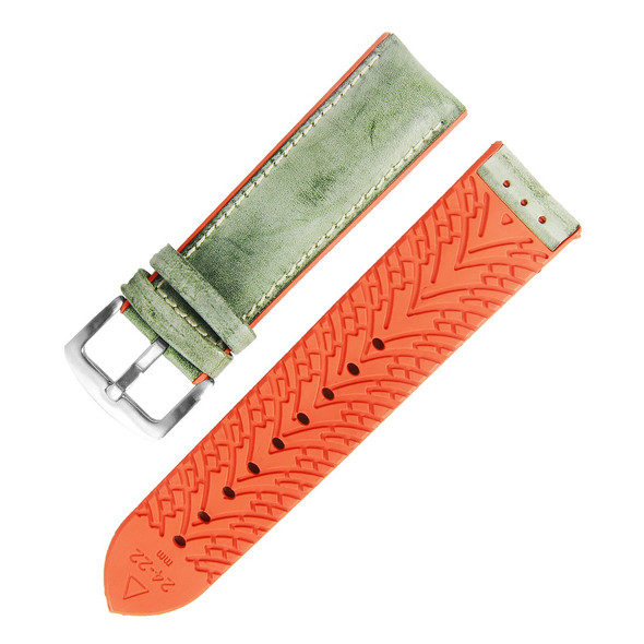 18MM GREEN LEATHER ORANGE RUBBER WATCH STRAP