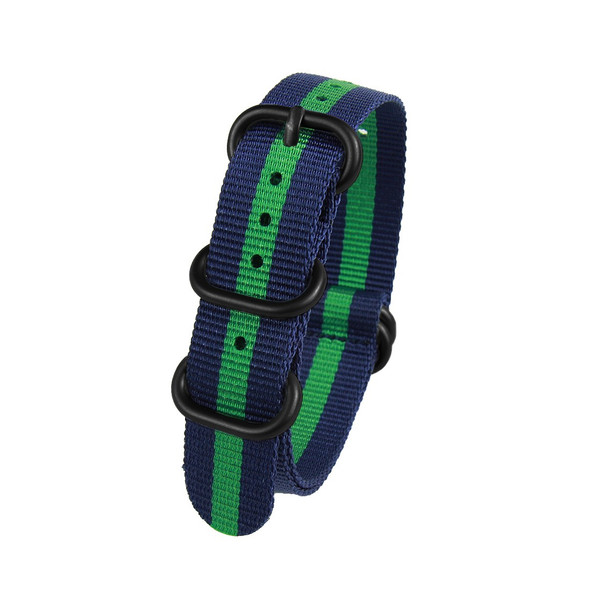 22MM BLUE W GREEN STRIPES NYLON ZULU STRAP