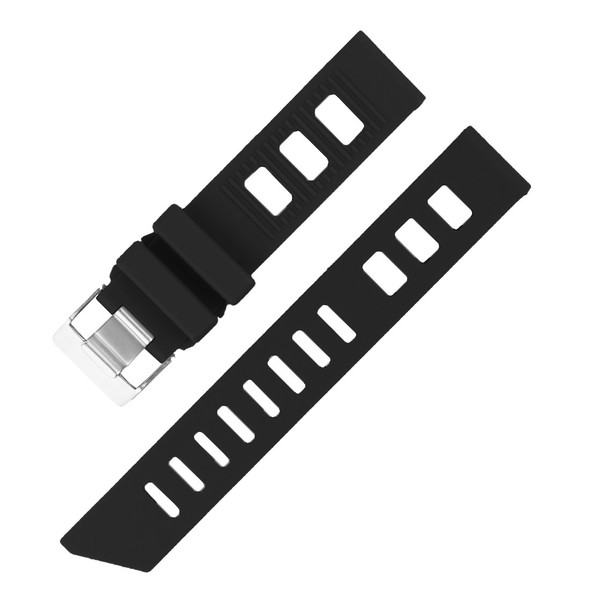 20MM BLACK SILICONE RUBBER WATCH STRAP