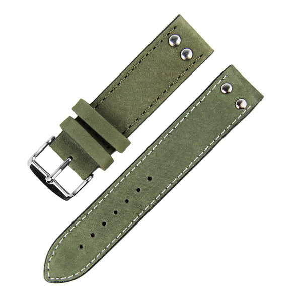 22MM ARMY GREEN SUEDE LEATHER WATCH STRAP