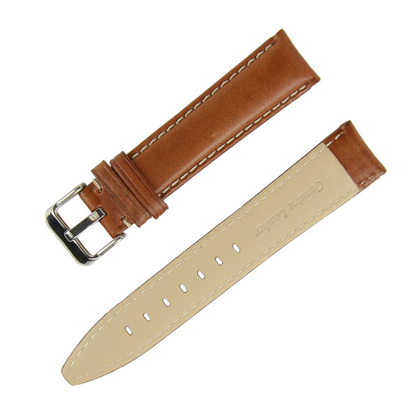 22MM ITALIAN BROWN LEATHER WATCH STRAP W WHITE TREADING
