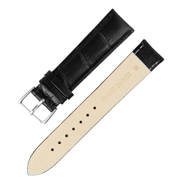 22MM BLACK BAMBOO GENUINE LEATHER WATCH STRAP