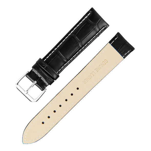 21MM BLACK BAMBOO WHITE STITCH GENUINE LEATHER WATCH STRAP